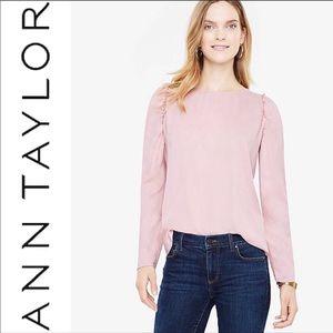 NWT Ann Taylor Ruffles Shoulder Pink Blouse